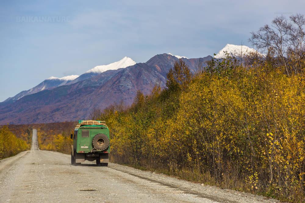 Щебеночная дорога из Петропавловск-Камчатский в поселок Козыревск. Камчатка.